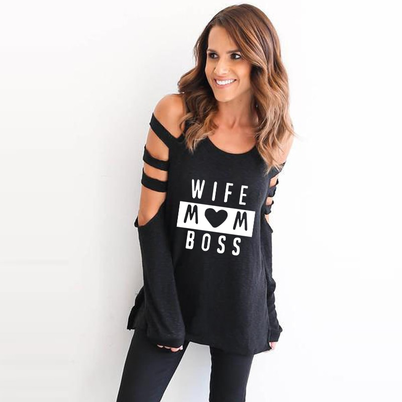 2019 otoño mujeres camiseta de hombro de playa de moda Sexy agujero camiseta mujer Tumblr divertido lindo amor esposa mamá Jefe impreso