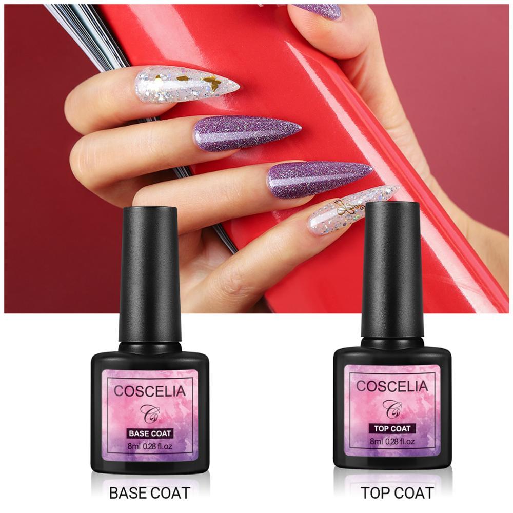 COSCELIA Top Base Coat UV Gel Polish Soak Off Strengthen 8ml Long Lasting Nail Art Manicure Gel Nail