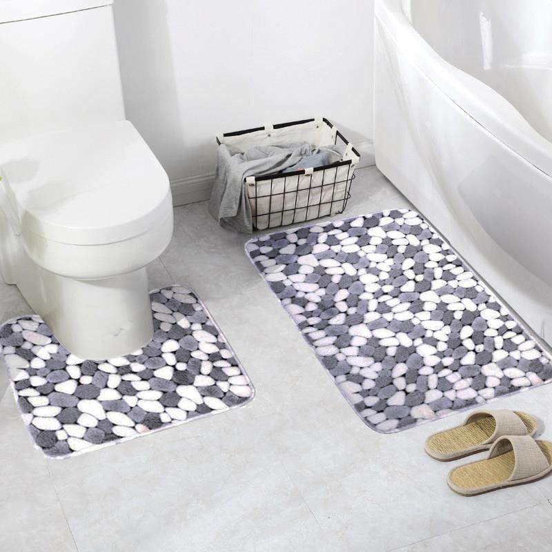 Set de 2 unidades de estera antideslizante de piedra para baño, estera de franela antideslizante para cocina, Alfombra de baño, Tapete lavable, Banheiro