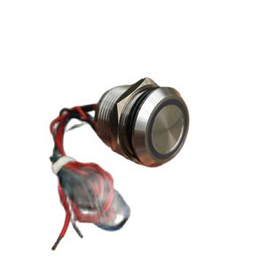 19mm Momentary Piezo Switch Stainless Steel Ring Illuminated Red/Green/Blue 12V Chamfer Head 3.0mm