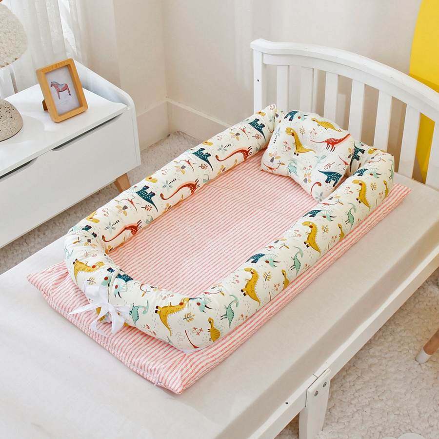 Foldable, removable and washable portable removable and washable crib bed bionic diaper changing pad baby pillow travel crib