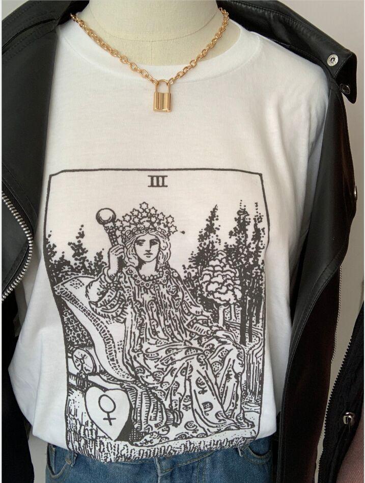 sunfiz YF The Empress Tarot Card T shirt Major Arcana Fortune Telling Occult T Shirt Casual O-neck Casual For Woman Cotton Tee
