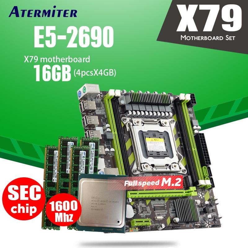 Atermiter X79 X79G LGA2011 mini-ATX motherboard combos E5 2690 C2 SR0L0 CPU 4pcs x 4GB = 16GB DDR3 RAM 1600Mhz PC3 12800R