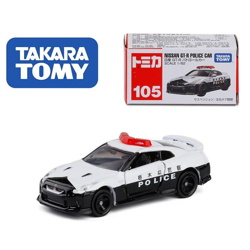 TAKARA TOMY Tomica 1 62 Nissan GT-R coche de policía #105 modelo de coche de juguete para niños