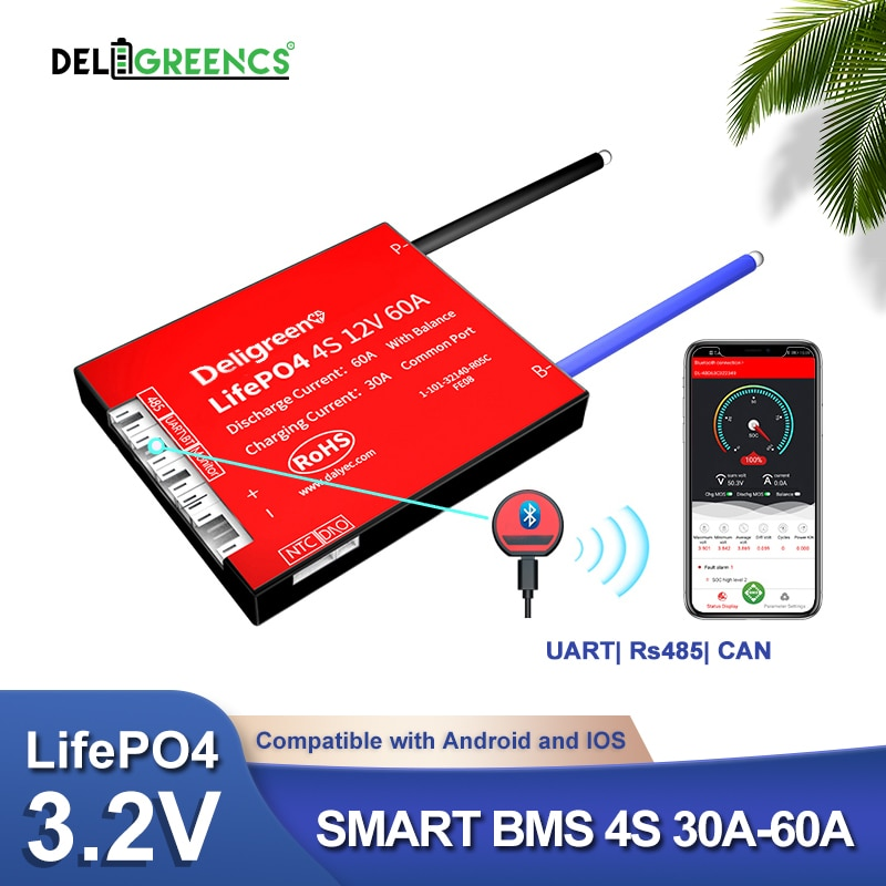 Smart BMS 4S 12V 30A 40A 60A Bluetooth APP contorl RS485 For PC for 3.2V rated Lifepo4 BMS NTC UART