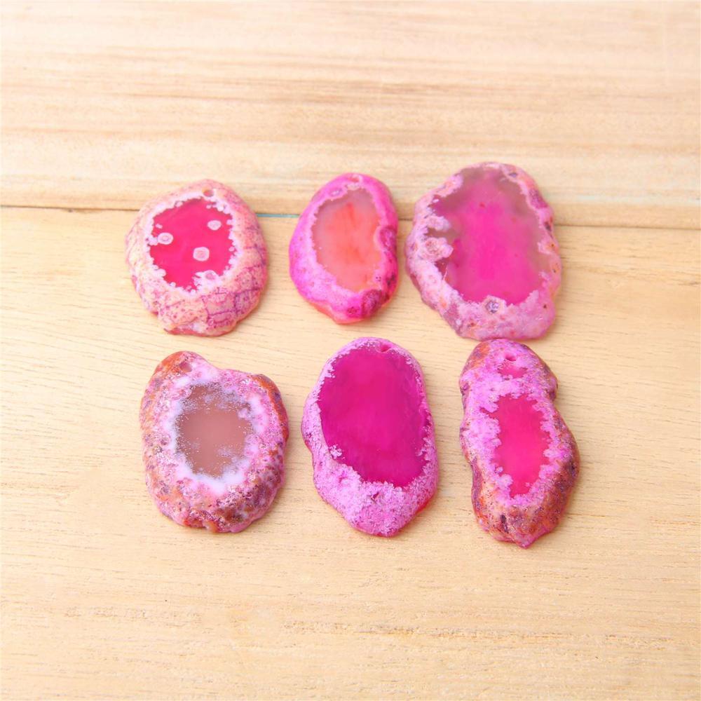Rose rosa Natürliche Achate Scheibe Geode Poliert Platte Brasilien Kristall Quarz Ornamente DIY Bekleidung Nähen Zubehör 20-21*34-45MM