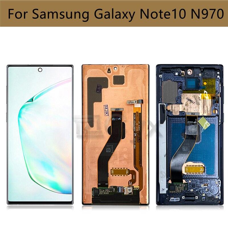لسامسونج غالاكسي نوت 10 LCD N970F N970W G970U عرض تعمل باللمس محول الأرقام الجمعية لسامسونج نوت 10 عرض حرق الظل