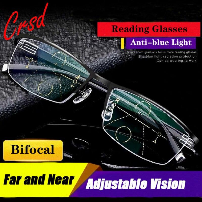 Distância bifocal de crsd masculino e perto óculos de leitura multi-foco ajuste automático grau anti-blu-ray presbiopia hd óculos