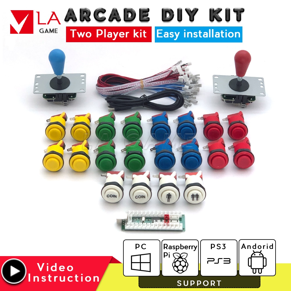 arcade kit 2 player placa zero delay usb to PC Rasberry PI arcade machine joystick usb happ type button snk capcom pacman arcade
