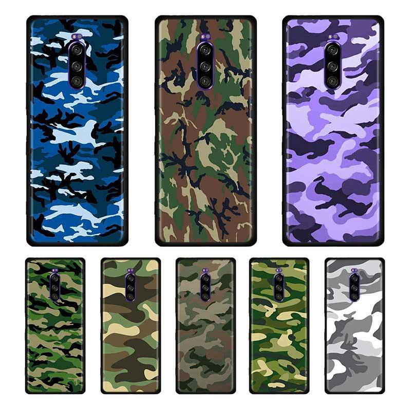 Camuflaje camuflaje militar ejército negro silicona suave funda para SONY Xperia 1 10 II 5 L4 funda de teléfono