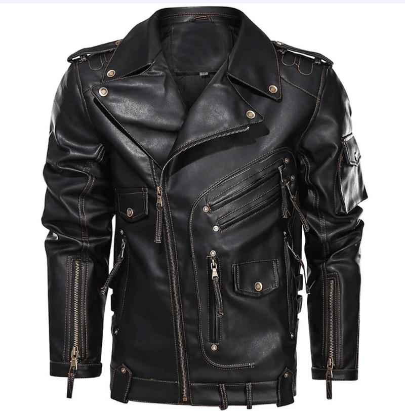 Роскошная брендовая кожаная мужская стильная зимняя куртка на молнии, мужская кожаная Роскошная мотоциклетная куртка пилота, зимняя куртк...