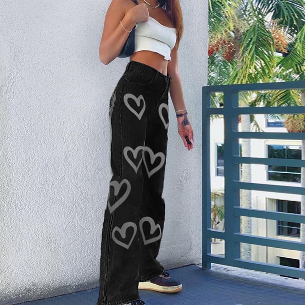 Heart Print Y2K High Waist Jeans Women Casual Straight Long Trousers Vintage Fashion Denim Pants Capris Skinny 2021 dropshipping