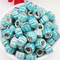10pcs new striped plastic resin big hole rondelle beads charms fit pandora bracelet cord necklaces earrings for jewelry making