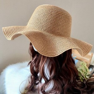 Solid Color Hat Female Summer Wave Side Seaside Beach Hat Holiday Sun Protection Ladies Summer Outing Holiday Sun Hat