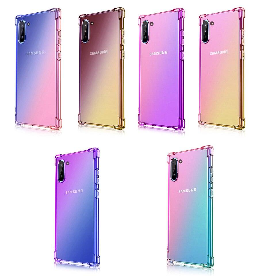 Caso de Telefone à prova de choque Duplo Gradiente de Cor Suave TPU Capa Para Samsung J8 J7 J6 J5 J4 J3 J2 2018 2017 2016 Note10Plus Note9 Note8
