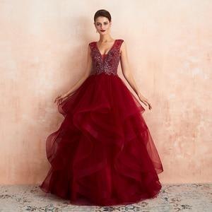 Real Photos 2019 New Arrivals Abendkleider Burgundy Evening Dresses Long With Beaded V-neck Zipper Vestido Gown Formal Dresses