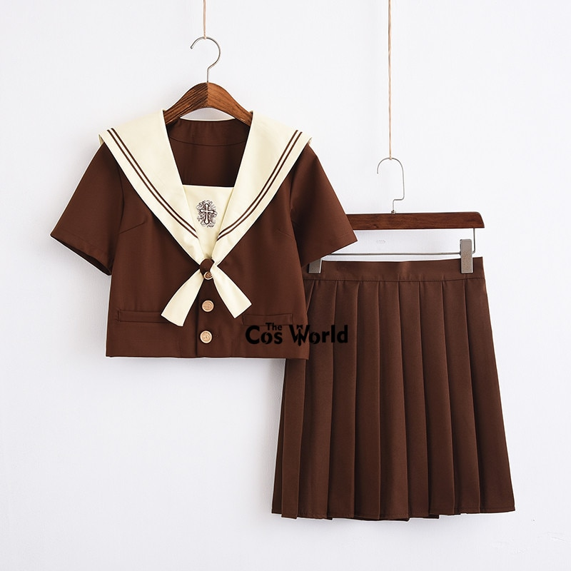 Ivory Yellow Cross Summer Navy Sailor Suit Tops Skirts JK High School Uniform Class Uniform Students Cloth