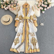 Yitimoky Vintage Print High Waist Dresses Women Sashes Lantern Sleeve Turn-down Collar A-Line 2021 S