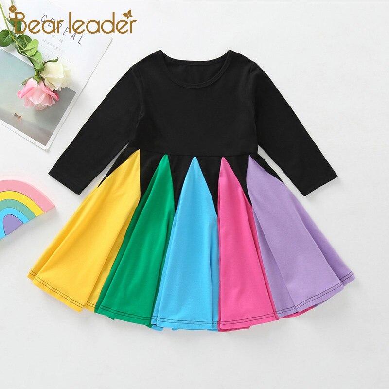 Nuevo vestido de primavera para niñas de Bear Leader, vestidos elegantes para niñas, vestido colorido de manga larga para niños, ropa dulce para NIÑOS 2 6y