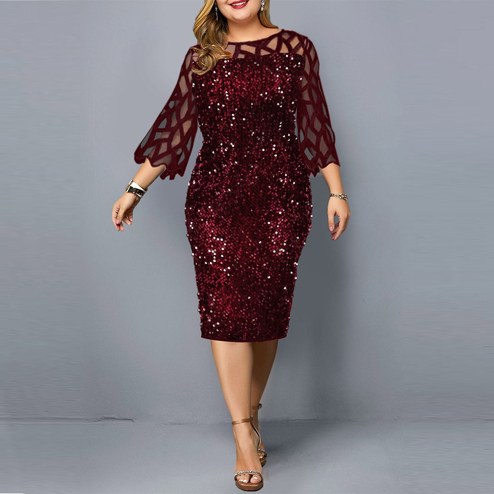 Plus Size Women's Summer Dress Elegant Sequin Birthday Party Dresses For Women 2021 New Casual Dress Wedding Evening Outfits 5XL