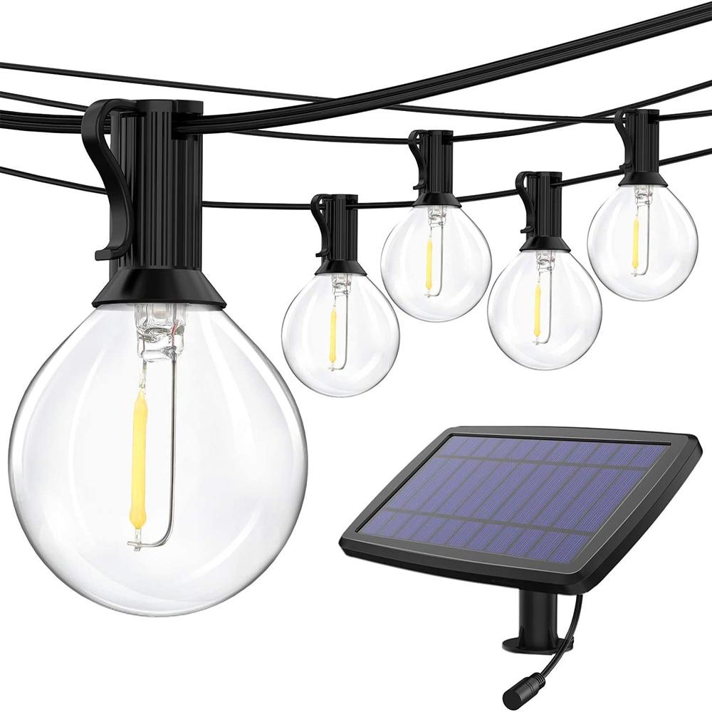 Guirnalda de luces de hadas de 16 pies/23 pies, Solar guirnalda, Bombilla Edison G40, LED de cristal, tira de luz de hadas impermeable para iluminación al aire libre