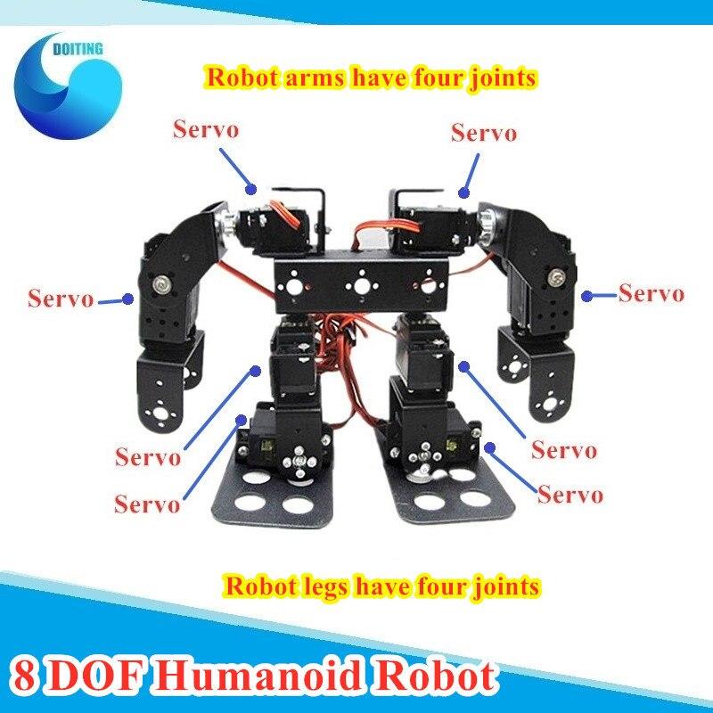 8 DOF humanoide Robot caminando hombre de Metal Robot bípedo con alto par Servos Robot DIY accesorios soportes de Metal/estructura