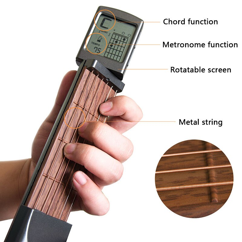 Pocket Guitar Chord Trainer Beginner Practice Tool/Portable with a Rotatable Chords Chart Screen