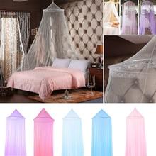 Novedad de verano, mosquitera redonda Rosa romántica, Red de encaje para colgar en la cúpula de la cama del bebé, tiendas de campaña, techo para bebés y adultos, colgante para decoración del hogar
