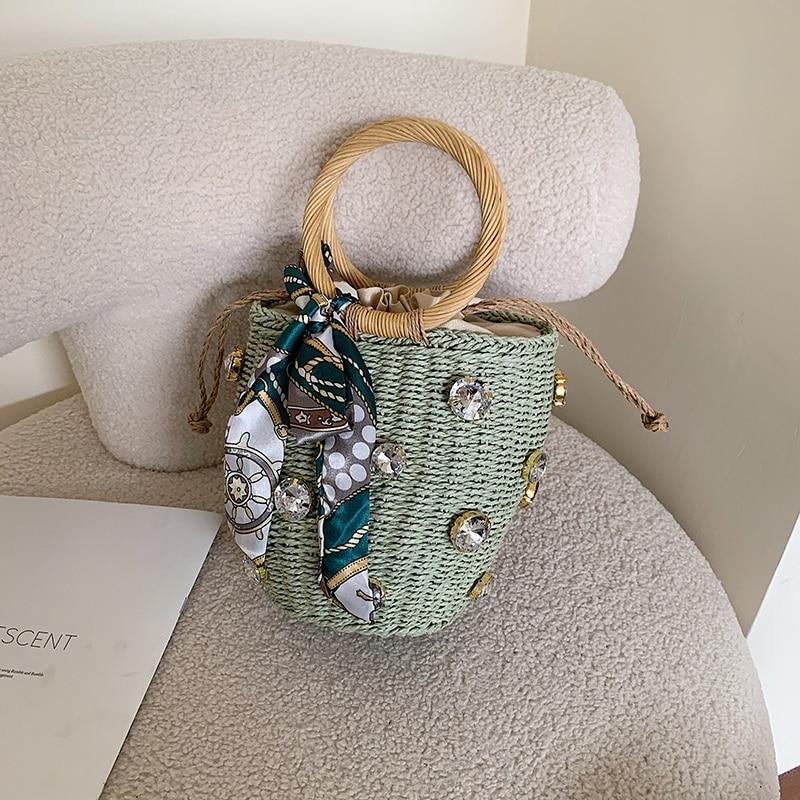 Vintage Straw Bag Women Tote Bag for Women 2021 New Summer Beach Leisure Woven Bucket Bags Designer