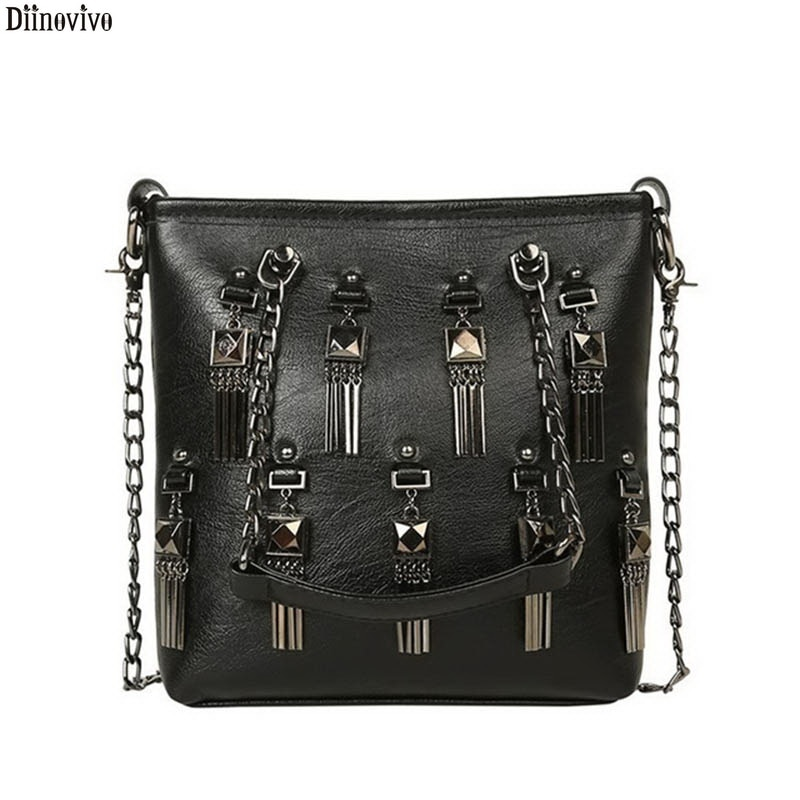 Diinovivo Rivet Tassel Women Crossbody Bag Chain Designer Small Vintage Shoulder Punk Luxury Brand Handbags New WHDV1617