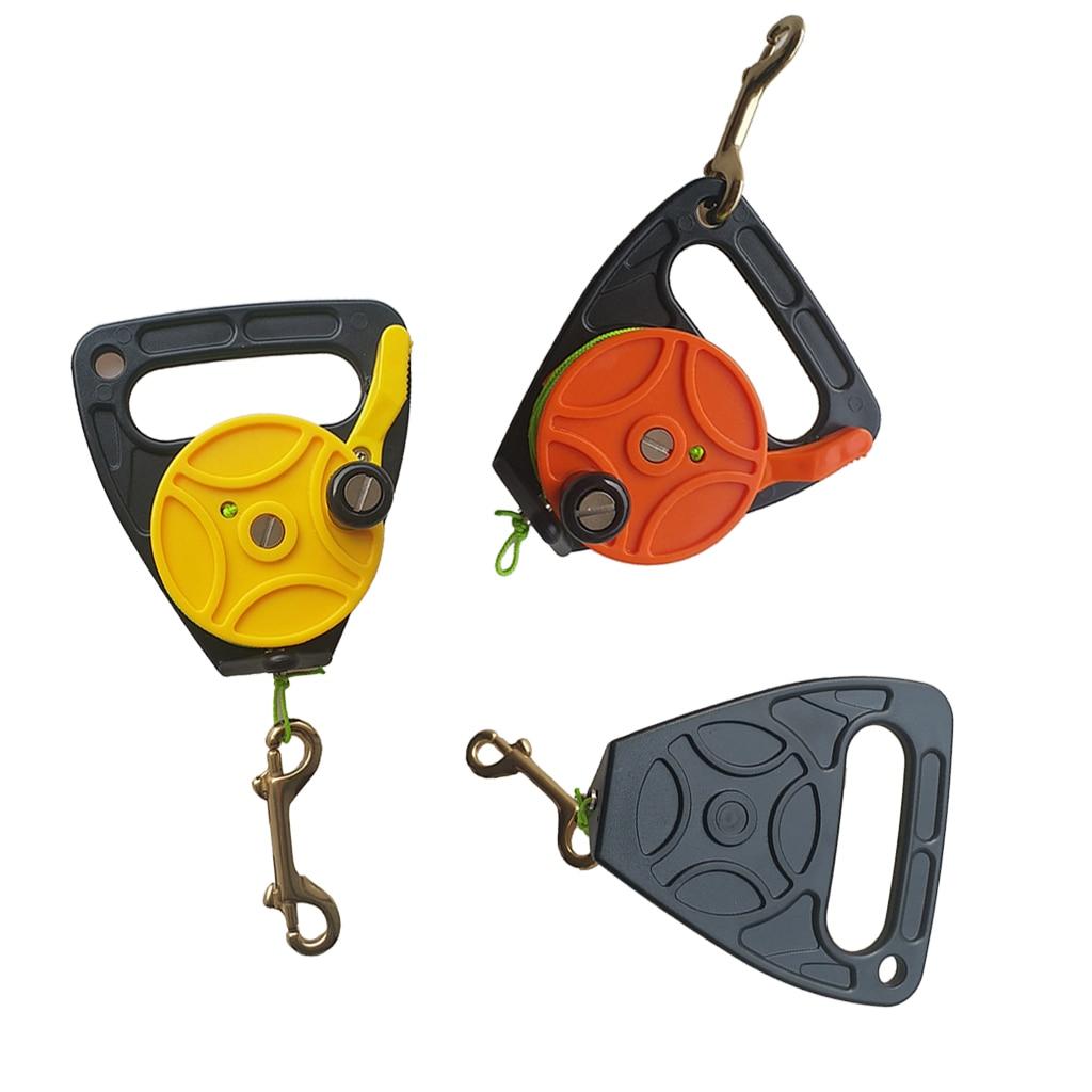 Carrete de buceo Premium, ancla de bote de Kayak y mango de transporte, línea de 150Ft, tapón de pulgar, tornillo de latón de doble extremo, equipo de buceo a presión