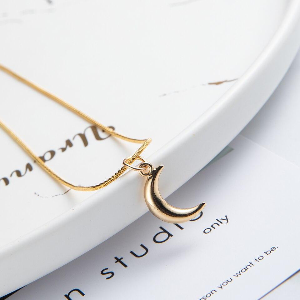 Moda gargantilha ouro prata cor corrente lua estrelas pingente colar para presente feminino para meninas melhores amigos jóias acessórios