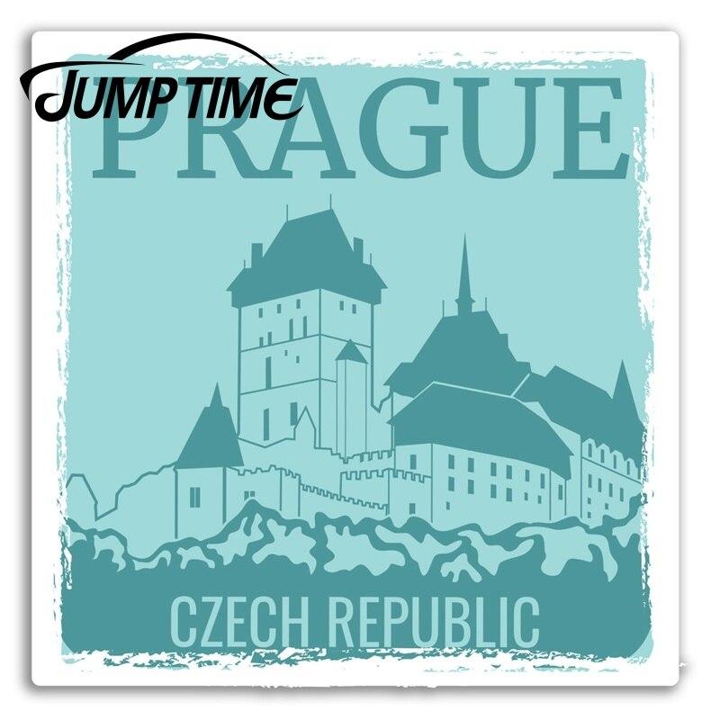 Pegatinas de vinilo para el salto de Praga, República Checa, pegatina para equipaje, viaje, Campista, para puerta pegatina, accesorios impermeables para coche