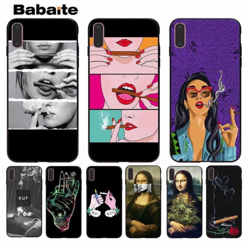 Babaite Weed Fumar Cigarro Oferta Especial Telefone Luxury Case Capa para iPhone 5 8 7 6 6S Plus 5S SE XR X XS MAX Coque Shell
