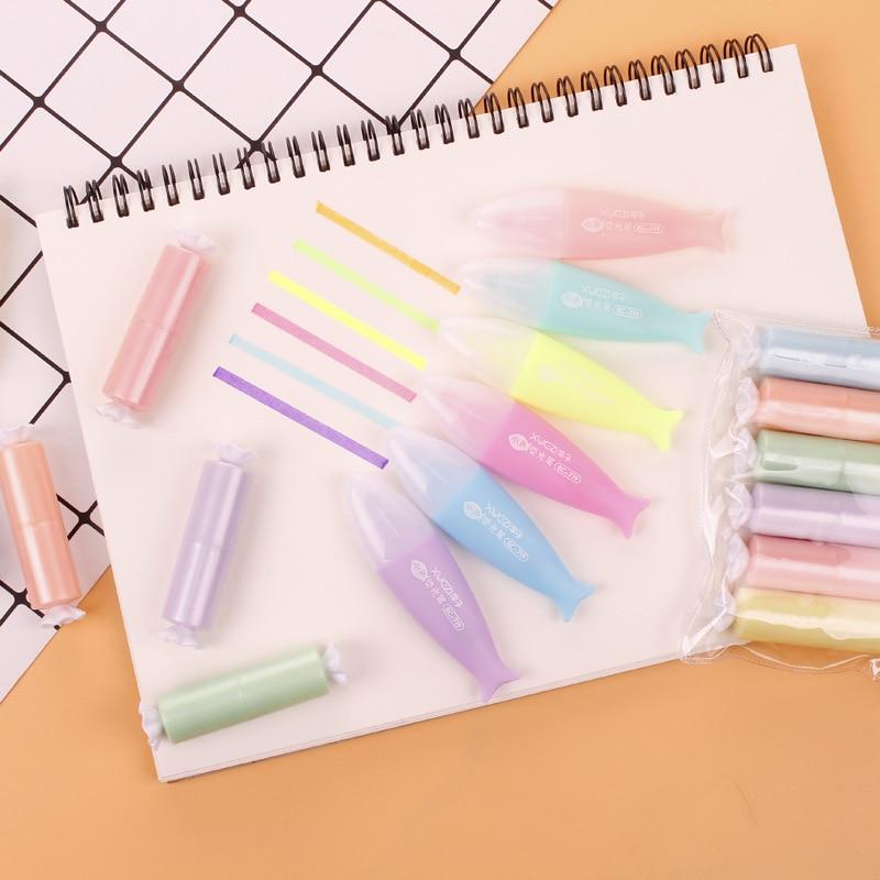 6 pçs/lote mini peixe doce highlighter bonito 6 cores desenho pintura arte marcador caneta material escolar papelaria presente