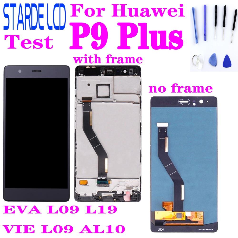 شاشة LCD بديلة لهاتف Huawei P9 Plus ، حامل محول رقمي بشاشة تعمل باللمس بإطار ، EVA L09 L19 VIE L09