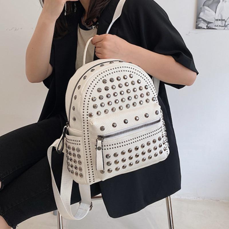White Rivets Women's Backpacks Quality Pu Leather Backpack Summer Travel Backpack Brand Design School Bags for Teenage Girl 2021