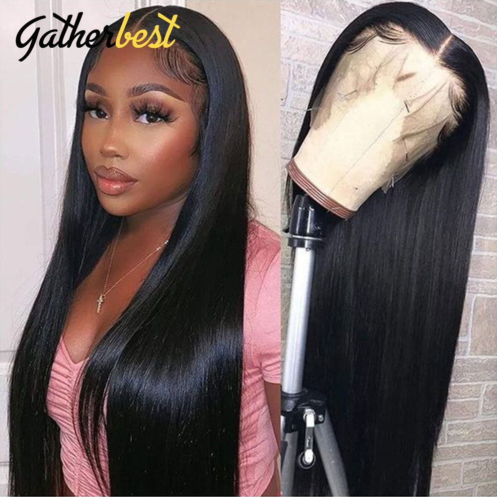 Black Straight Wigs for Women 32 34 36 Inch Bone Straight Lace Front Long Wig Brazilian Straight Pre-plucked Human Lace Wigs