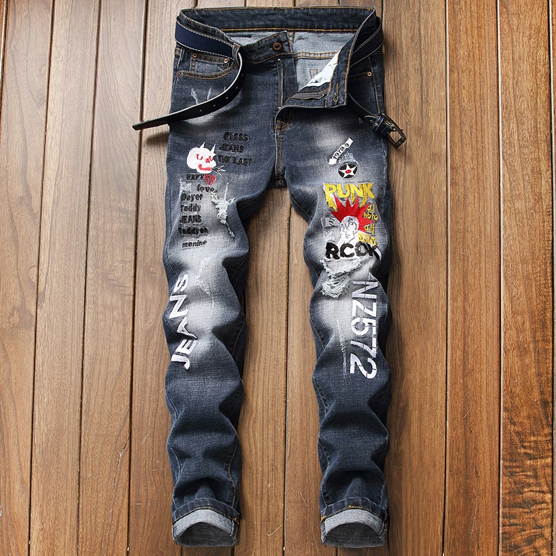 Men's embroidered jeans, 2021, new trends, men's embroidered jeans, men's stretch jeans, black, cart