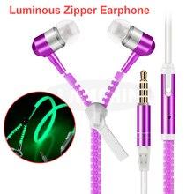 5 Colors Night-Luminous Earphone for iPhone Xiaomi Huawei  Super Bass Full Glowing Metal Zipper Ear phones with Microphone