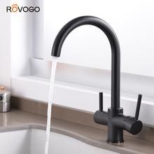 ROVOGO Matte Black Dual Handle Filtered Crane For Kitchen, 360 Rotation Water Filter Tap Three Ways Sink Mixer Kitchen Faucet