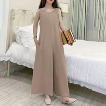 2021 Japanese Style New Summer Casual Wide Leg Pants Sleeveless Jumpsuit Solid Color Pocket Round Ne