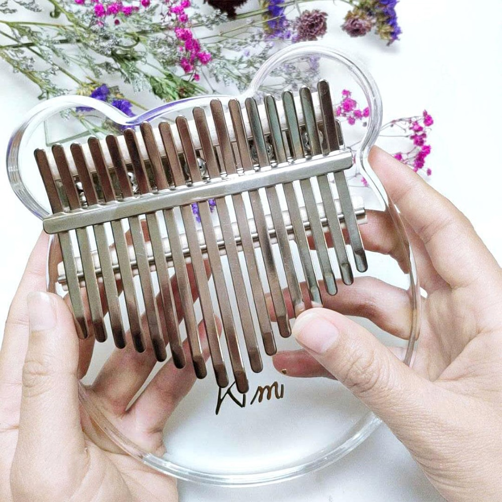Kimi Kalimba Acrylic 17 Key Transparent Thumb Piano With Tuner Hammer Gig Kalimba Case Manual Free Shipping enlarge