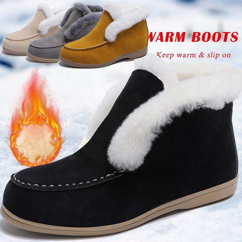 2021 Ankle Boots Suede Leather Boots Warm Fur Casual shoes Winter Boots Slip-on Snow Boots for Women Flat Wool Boots Women Shoes women winter boots new winter women snow boots australia boots casual fur warm boots women shoes 2018 fashion flats boots shoes