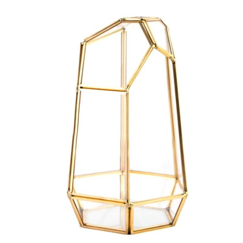 Caja de joyería decorativa contenedor de Terrario de vidrio de latón plantador de escritorio para suculentas plantas de aire musgo soporte miniatura Outd