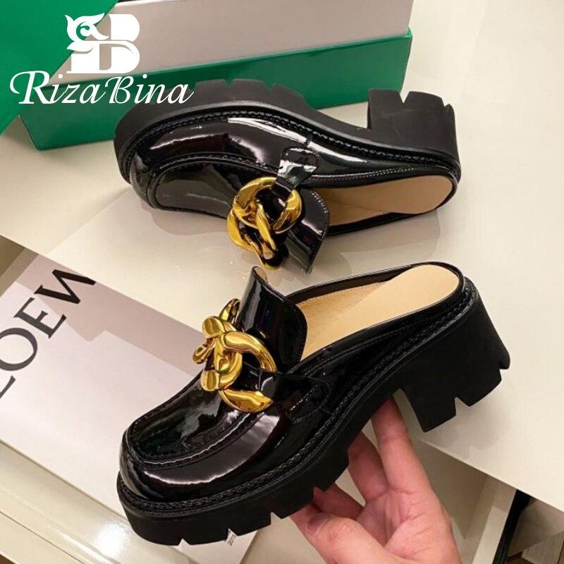 RIZABINA موضة جديدة عالية الجودة جلد طبيعي الصنادل ساحة تو سميكة عالية الكعب سلسلة معدنية لوفرز الأحذية حجم 34-40