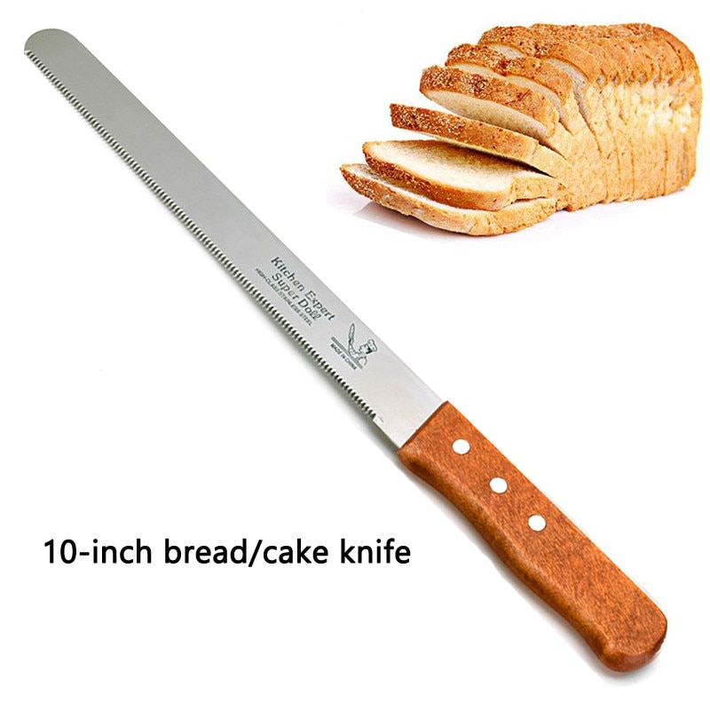 Cuchillo de acero inoxidable seean de 10 pulgadas cortador en capas cuchillo de pan mango de madera cuchillo de diente fino utensilio para hornear herramienta de pastelería de cocina