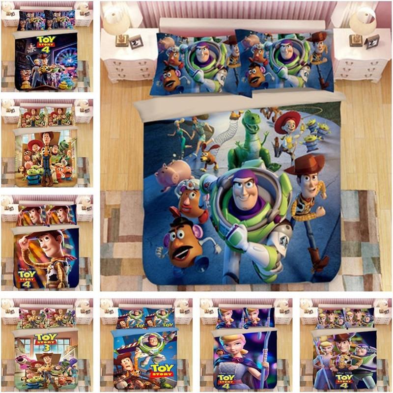 Disney Toy Story Sherif Woody Buzz Lightyear, juego de cama para niños, Cartooon, funda de edredón para adultos, cama individual de tamaño king