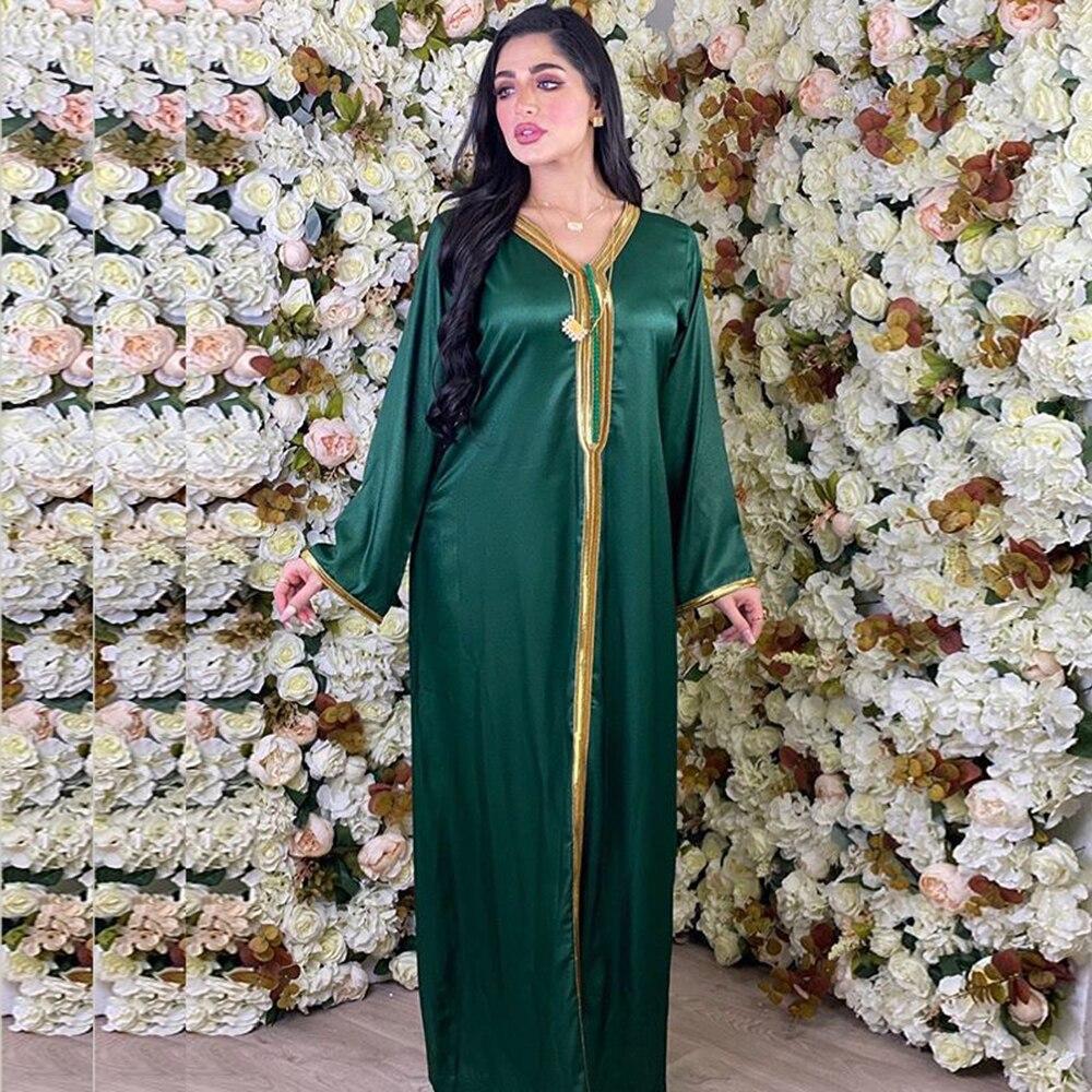 Moroccan Kaftan 2020 Golden Ribbon Patchwork V Neck Long Sleeve Dubai Turkish Arabic Dresses Muslim Islamic Clothing Abaya Dress