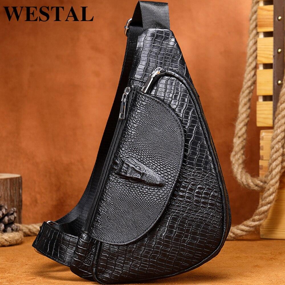 WESTAL الرجال حقيبة صدر للرجال التمساح نمط حقيبة جلدية أصلية حقائب كروسبودي للرجل موضة الكتف حزمة الجلود الطبيعية 697